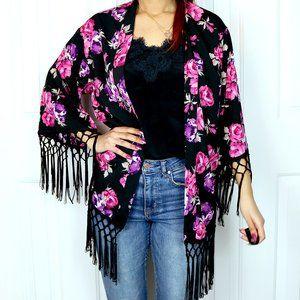 Miss Selfridge Boho Floral Fringe Kimono